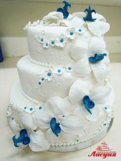 #с200 (3) свадебный торт в бело-голубых тонах с орхидеями