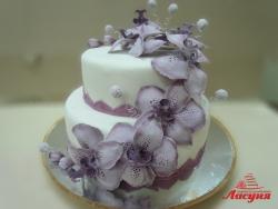 #с200 (4) свадебный торт 2 ярус мастика с орхидеями