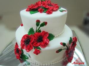 #с200 (5) свадебный торт с маками в украинском стиле