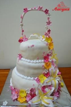 #с200 (6) свадебный торт белый с цветами