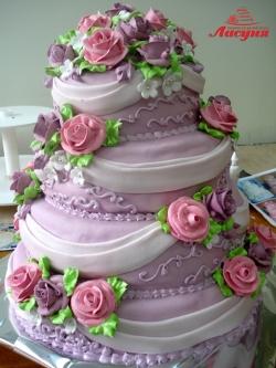#с200 (7) свадебный торт сиреневый