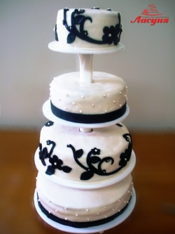 #с200 (8) свадебный торт 4 яруса мастика на подставке