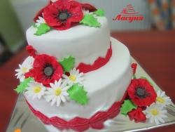 #с200 (9) свадебный торт с маками и ромашками
