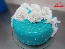 #ю170(1) торт с мастичными цветами
