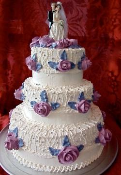 #c120 (1) Свадебный торт белый с розами