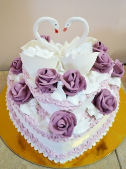 #c120 (2) Свадебный торт сердце с лебедями