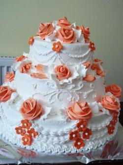 #c120 (7) Свадебный торт с оранжевыми розами