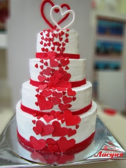 #c160 (14) Свадебный торт с сердцами