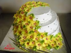 #c160 (15) Свадебный торт с жёлтыми цветами