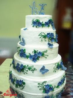 #c160 (22) Свадебный торт 5 ярусов с голубыми цветами и бабочками