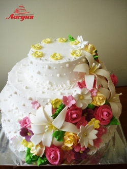 #c160 (24) Свадебный торт с цветами