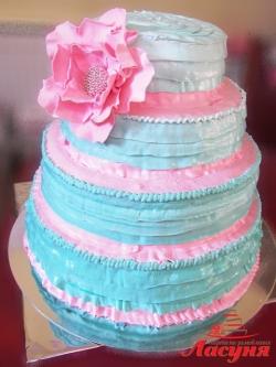 #c160 (28) Свадебный торт розово-бирюзовый