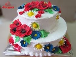 #c160 (3) Свадебный торт с маками и ромашками