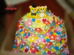 #c160 (38) яркий свадебный торт с мишками