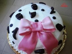 #c160 (5) Свадебный торт маленький с розовым бантом