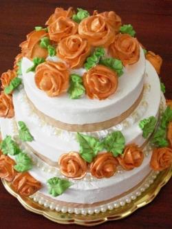 #c160 (8) Свадебный торт с золотыми розами