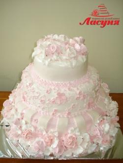 #c160 (9) Свадебный торт в розовых тонах