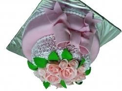 #c220 (11) свадебный торт розовый с бантом и розами