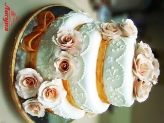 #c220 (18) свадебный торт мастика 3 яруса с розами