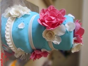 #c220 (26) свадебный торт голубой с цветами