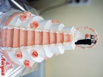 #c220 (5) свадебный торт с фигурками жениха и невесты 5 ярусов