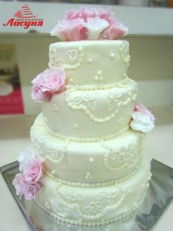 #c220 (9) свадебный торт с розами из мастики