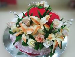 #c250 (14) свадебный торт в бело-красных тонах