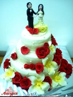 #c250 (16) свадебный торт мастика 3 яруса с розами