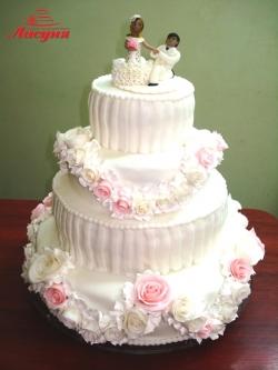 #c250 (19) свадебный торт в бело-розовых тонах