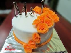 #c250 (2) торт на свадьбу с оранжевыми розами