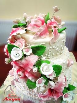 #c250 (6) свадебный торт мастика 3 яруса с цветами