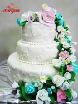 #c250 (7) свадебный торт с разноцветными розами