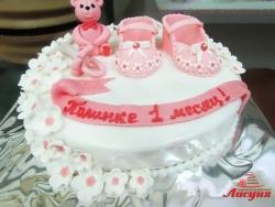 #д200(25) торт на 1 месяц для девочки