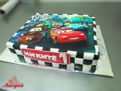 #д200(27) фото торт для мальчика на 1 годик Тачки Молния Маквин