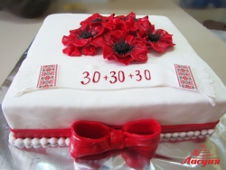 #п180(30) торт на юбилей с маками и рушныком