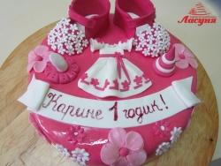 #д200(33) торт на 1 годик для девочки