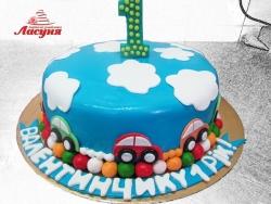 #д200(35) торт на 1 годик с машинками