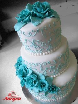 #с200(40) свадебный торт с голубыми розами