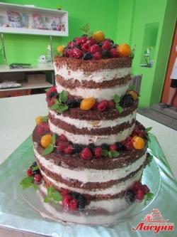 #п135(21) голый торт с фруктами и ягодами