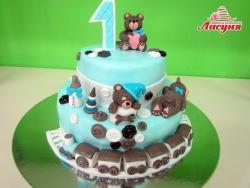 #д250(7) торт на для мальчика на 1 годик с медвежатами и паровозиком
