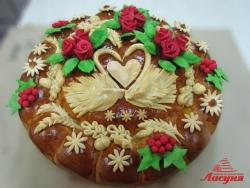 #к100(1) Каравай на свадьбу с розами и лебедями