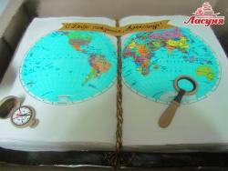 #п220(35) торт географический атлас, торт учителю географии