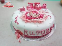 #д250(8) торт на 1 годик для девочки